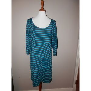 ATTENTION Dress Large Teal Blue Gray Striped Tiers